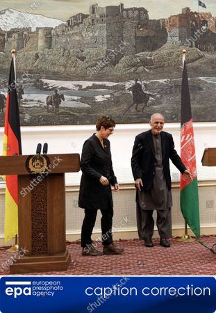 (CORRECTION) - This is to amend image epa08041626 issued on 03 December 2019, correcting name of Afghanistan President to Ashraf Ghani (not: Hamid Karzai). The revised caption reads:   epa08041626 German Defense Minister Annegret Kramp-Karrenbauer (L) and Afghan President Ashraf Ghani talk with journalists during a press conference in Kabul, Afghanistan, 03 December 2019. Annegret Kramp-Karrenhauer said that she supported an extension of German participation in the NATO mission in Afghanistan.
