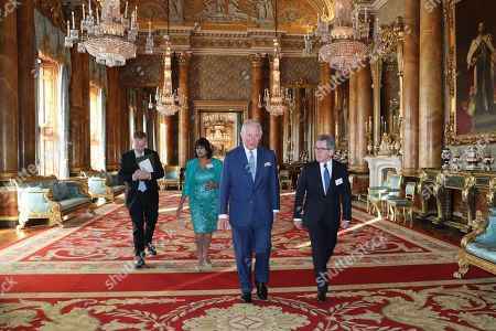 Chairman of the Queen Elizabeth Prize for Engineering Foundation Lord John Browne of Madingley and Prince Charles arrive for the Queen Elizabeth Prize for Engineering at Buckingham Palace
