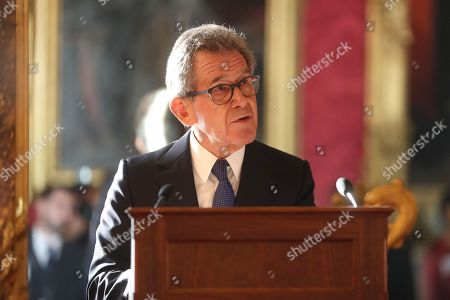 Chairman of the Queen Elizabeth Prize for Engineering Foundation Lord John Browne of Madingley speaks on stage at the Queen Elizabeth Prize for Engineering at Buckingham Palace