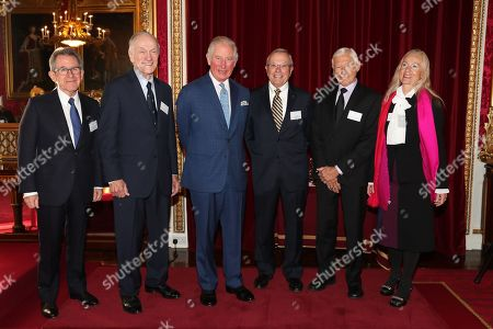 (L-R) Chairman of the Queen Elizabeth Prize for Engineering Foundation Lord John Browne of Madingley, Richard Schwartz, Prince Charles Dr Bradford Parkinson, Hugo Fruehauf and wife of the late Professor James Spilker, Jr, Mrs Anna Marie Spilker pose at Buckingham Palace. Prince Charles on behalf of Her Majesty The Queen, will present the Queen Elizabeth Prize for Engineering at Buckingham Palace