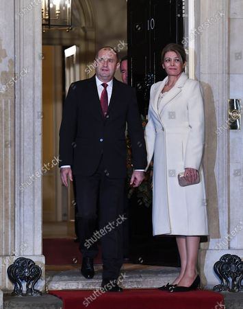 Bulgarian President Rumen Radev (L) and his wife Desislava Radeva (R) at 10 Downing Street during the NATO Summit in London, Britain, 03 December 2019. NATO countries' heads of state and government are gathering in London for a two day meeting.