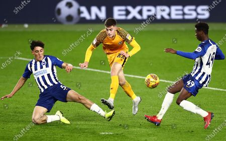 Lewis Collins of Newport County sees his shot blocked by  Haydon Roberts of Brighton and Hove Albion U21s.