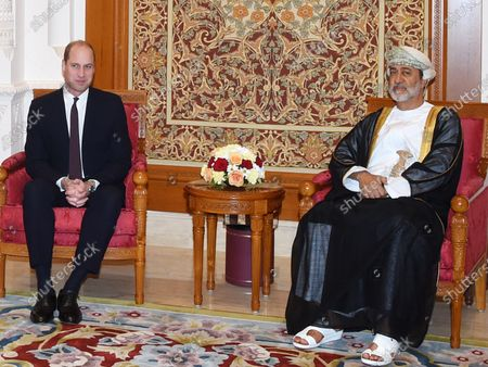 Omani Minister of Heritage and Culture Sayyid Haitham Bin Tariq Al Said (R) receives Britain's Prince William, Prince William (L) upon arrival in Muscat, Oman, 03 December 2019.