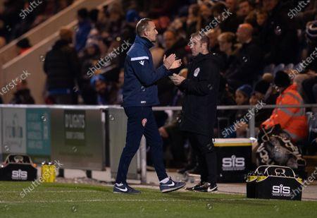 Stevenage Caretaker Manager Mark Sampson celebrates the goal of Jason Cowley of Stevenage