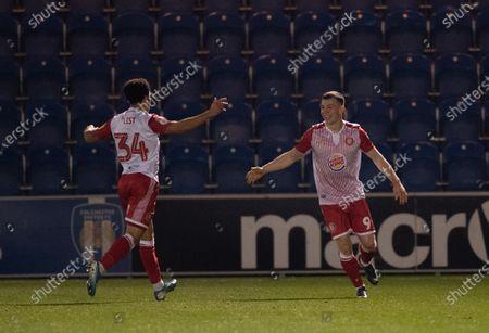 Jason Cowley of Stevenage celebrates scoring his secnd goal with Elliott List of Stevenage, 0-2