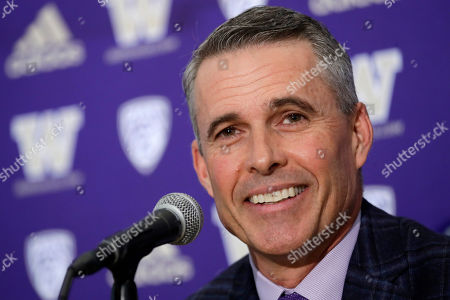 Washington NCAA college football head coach Chris Petersen speaks at a news conference about his decision to resign at the end of the season, in Seattle. Petersen unexpectedly resigned on Monday, a shocking announcement with the Huskies coming off a 7-5 regular season and bound for a sixth straight bowl game under his leadership. Petersen will coach Washington in a bowl game, his final game in charge. Defensive coordinator Jimmy Lake is being promoted to head coach
