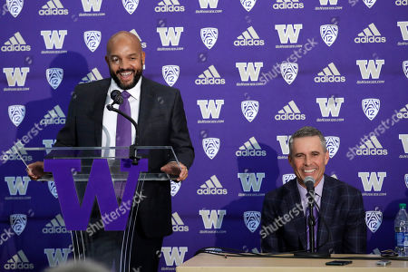 Jimmy Lake, Chris Petersen. Washington NCAA college football defensive coordinator Jimmy Lake, left, speaks about taking over the head coaching position from Chris Petersen, right, during a news conference, in Seattle. Petersen unexpectedly resigned on Monday, a shocking announcement with the Huskies coming off a 7-5 regular season and bound for a sixth straight bowl game under his leadership. Petersen will coach Washington in a bowl game, his final game in charge