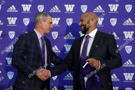 Jimmy Lake, Chris Petersen. Washington NCAA college football head coach Chris Petersen, left, shakes hands with defensive coordinator Jimmy Lake following a news conference about Lake taking over the head coaching position, in Seattle. Petersen unexpectedly resigned on Monday, a shocking announcement with the Huskies coming off a 7-5 regular season and bound for a sixth straight bowl game under his leadership. Petersen will coach Washington in a bowl game, his final game in charge