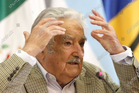 Former President of Uruguay Jose Mujica participates in a conference at the headquarters of the Foreign Ministry in Mexico City, Mexico, 03 December 2019. Jose Mujica said that the future of Latin America is going to unite in the face of globalization and the power of the market, given what it considers a new era of 'neocolonization'.