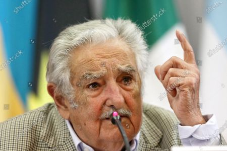 Stock Picture of Former President of Uruguay Jose Mujica participates in a conference at the headquarters of the Foreign Ministry in Mexico City, Mexico, 03 December 2019. Jose Mujica said that the future of Latin America is going to unite in the face of globalization and the power of the market, given what it considers a new era of 'neocolonization'.