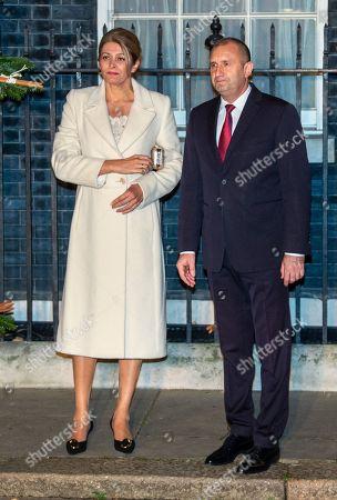 President of Bulgaria Rumen Radev and wife First Lady of Bulgaria Desislava Radeva arrive in Downing Street