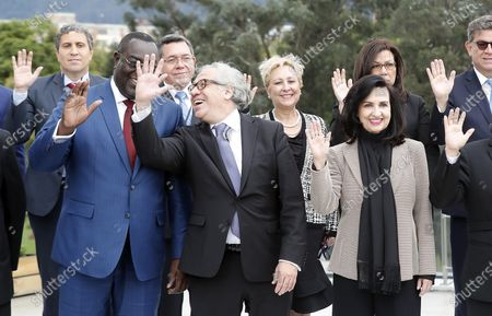 The Secretary General of the Organization of American States (OAS), Luis Almagro (C); Haitian Foreign Minister Bocchit Edmond (L) and Colombian Foreign Minister Claudia Blum (R) pose for the official family photo of the meeting of the countries of the Inter-American Treaty of Reciprocal Assistance (TIAR), in Bogota, Colombia, 03 December 2019. The meeting, involving foreign ministers and representatives of 16 countries, as well as the Secretary General of the OAS Luis Almagro, will evaluate the application of judicial, legal and police measures against people close to Venezuelan ruler Nicolas Maduro.