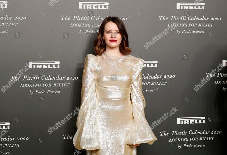 British actress Claire Foy poses for photographers at the 2020 Pirelli Calendar event in Verona, Italy