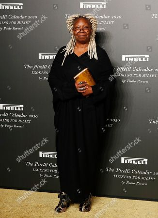American actress Whoopi Goldberg poses for photographers at the 2020 Pirelli Calendar event in Verona, Italy