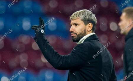 Manchester City's Sergio Aguero reacts after the English Premier League soccer match between Burnley and Manchester City held at the Turf Moor in Burnley, Britain, 03 December 2019.