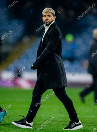 Stock Picture of Manchester City's Sergio Aguero reacts after the English Premier League soccer match between Burnley and Manchester City held at the Turf Moor in Burnley, Britain, 03 December 2019.