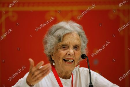 Mexican writer and journalist Elena Poniatowska speaks during a press conference, in Guadalajara, Mexico, 03 December 2019. Poniatowska said she maintains her strong support for the president of Mexico, the leftist Andres Manuel Lopez Orador, although he has had a first year of 'very difficult' rule.