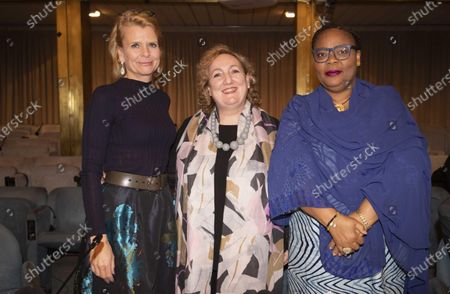 Stock Image of (L-R) Deputy Executive Director of UN Women, Asa Regner; Vice Minister for Foreign Affairs, Emanuela Del Re, and Nobel Peace Prize Laureate, Leymah Gbowee, during the conference Strengthening Womens Participation in Peace Processes: What Roles and Responsibilities for States? at Farnesina Palace in Rome, Italy, 03 December 2019.