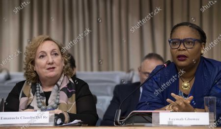 Stock Photo of Vice Minister for Foreign Affairs, Emanuela Del Re (L) and Nobel Peace Prize Laureate, Leymah Gbowee, during the conference Strengthening Womens Participation in Peace Processes: What Roles and Responsibilities for States? at Farnesina Palace in Rome, Italy, 03 December 2019.