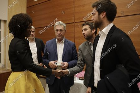 The two sons (R) and the husband (2nd-L) of the murdered journalist Daphne Caruana Galicia meet an EU delegation regarding a probe into the murder of the investigative reporter in the Europe House in Valletta, Malta, 03 December 2019. The protests outside Malta's House of Parliament following the resignations of Minister Konrad Mizzi and Prime Minister Joseph Muscat's Head of Staff Keith Schembri and Minister Chris Cardona suspending himself from any activities of his party (Partit Laburista) as Malta police investigations into the murder of late journalist Daphne Caruana Galizia in 2017 continue.