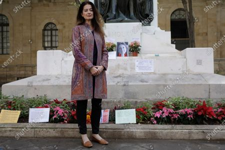 Corinne Vella, sister of the murdered journalist Daphne Caruana Galicia attends a memorial to Daphne Caruana Galizia at the Great Siege Monument in Valletta, Malta, 03 December 2019, during a meeting with an EU delegation regarding a probe into the murder of the investigative reporter in the Europe House. The protests outside Malta's House of Parliament following the resignations of Minister Konrad Mizzi and Prime Minister Joseph Muscat's Head of Staff Keith Schembri and Minister Chris Cardona suspending himself from any activities of his party (Partit Laburista) as Malta police investigations into the murder of late journalist Daphne Caruana Galizia in 2017 continue.