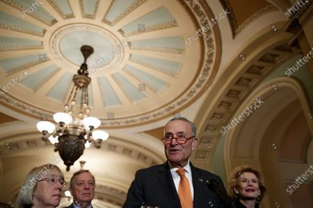 Senate Minority Leader Chuck Schumer responds to a question from the news media during a press conference following luncheon honoring Republican Senator from Georgia Johnny Isakson in the US Capitol in Washington, DC, USA, 03 December 2019. Leader Schumer said that he had not been contacted by Senate Majority Leader Mitch McConnell about rules for a possible Senate impeachment trial.