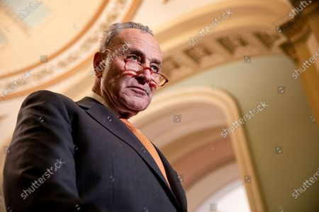 Senate Minority Leader Chuck Schumer attends a press conference following Democratic policy luncheon in the US Capitol in Washington, DC, USA, 03 December 2019. Leader Schumer said that he had not been contacted by Senate Majority Leader Mitch McConnell about rules for a possible Senate impeachment trial.