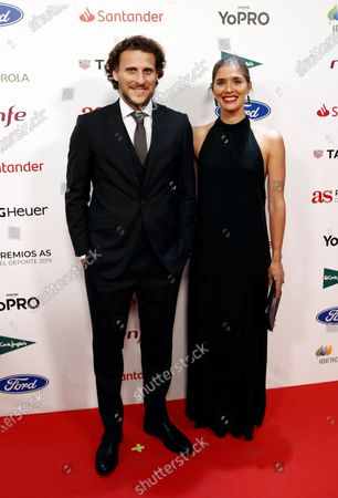 Former Uruguayan soccer player Diego Forlan (L) poses for the photographers upon arrival at 'Premios As del Deporte' awards by Spanish Journal AS in Madrid, Spain, Spain, 03 December 2019.