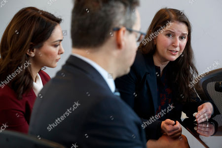 Nazanin Boniadi, Sarah Moriarty, Jared Genser. Nazanin Boniadi, left, an actress and activist, listens as Sarah Moriarty, the daughter of Robert Levinson, a U.S. hostage in Iran, speak about her father's captivity, in Washington. At front is international human rights lawyer Jared Genser