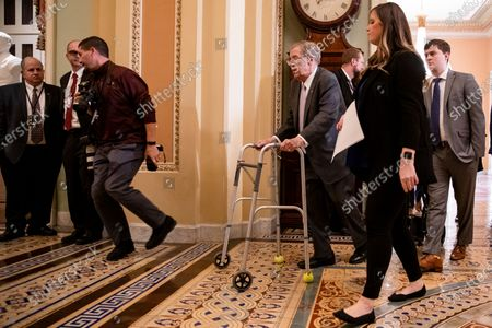 Sen. Johnny Isakson (R-GA) heads to the Senate floor following the Republican policy luncheon for his farewell speech and tributes at the US Capitol in Washington, DC, USA, 03 December 2019.