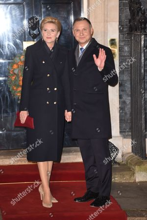 Poland President Andrzej Duda and First Lady Agata Kornhauser-Duda arrives at No 10