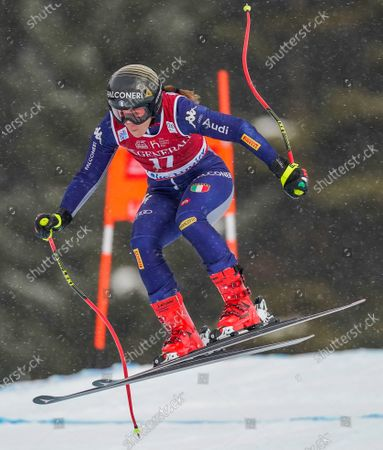 Stock Image of Sofia Goggia of Italy in action at the Women's World Cup Alpine Downhill Training in Lake Louise, Alberta, Canada, 03 December 2019.