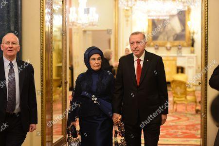The Turkish president, Recep Tayyip Erdogan and his wife Emine at Buckingham Palace