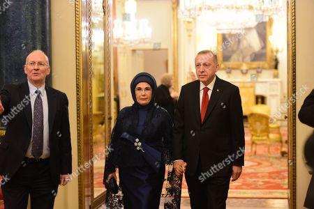The Turkish president, Recep Tayyip Erdogan and is wife Emine at Buckingham Palace