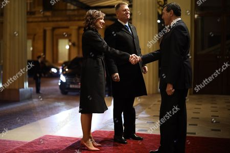 President of Romania Klaus Iohannis and his wife First Lady of Romania Carmen Iohannis arrives at a reception for NATO leaders hosted by Queen Elizabeth II at Buckingham Palace. Her Majesty Queen Elizabeth II hosted the reception at Buckingham Palace for NATO Leaders to mark 70 years of the NATO Alliance