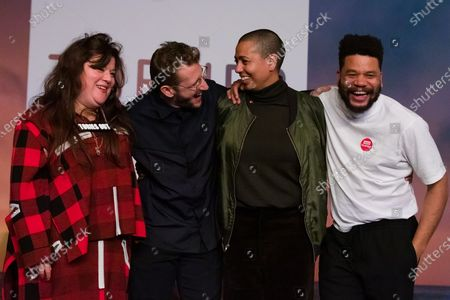 British artists (L-R) Tai Shani, Lawrence Abu Hamdan, Helen Cammock, and Oscar Murillo pose for a photograph after being announced as the joint winners of Turner Prize 2019 at Dreamland in Margate, Kent, Britain, 03 December 2019. The Turner Prize, which is presented since 1984 to a British-born or based artist aged under 50, is in its 35th year and is considered the highest award for arts in Britain.