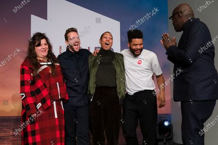 British artists (L-R) Tai Shani, Lawrence Abu Hamdan, Helen Cammock, and Oscar Murillo pose for a photograph with Edward Enninful, Editor-in-Chief of British Vogue (R) after being announced as the joint winners of Turner Prize 2019 at Dreamland in Margate, Kent, Britain, 03 December 2019. The Turner Prize, which is presented since 1984 to a British-born or based artist aged under 50, is in its 35th year and is considered the highest award for arts in Britain.
