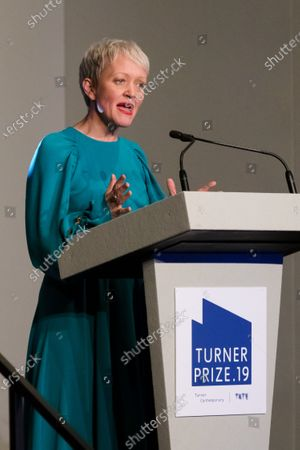 Stock Photo of Maria Balshaw, Director of the Tate art museums and galleries, makes a speech before the announcement of the 2019 Turner Prize winners at Dreamland in Margate, Kent, Britain, 03 December 2019. The Turner Prize, which is presented since 1984 to a British-born or based artist aged under 50, is in its 35th year and is considered the highest award for arts in Britain.