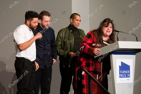 British artists (L-R) Oscar Murillo, Lawrence Abu Hamdan, Helen Cammoc and Tai Shani celebrate after being announced as the joint winners of Turner Prize 2019 at Dreamland in Margate, Kent, Britain, 03 December 2019. The Turner Prize, which is presented since 1984 to a British-born or based artist aged under 50, is in its 35th year and is considered the highest award for arts in Britain.