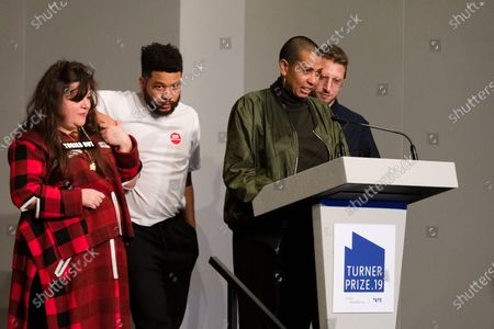 British artists (L-R) Tai Shani, Oscar Murillo, Helen Cammoc, and Lawrence Abu Hamdan celebrate after being announced as the joint winners of Turner Prize 2019 at Dreamland in Margate, Kent, Britain, 03 December 2019. The Turner Prize, which is presented since 1984 to a British-born or based artist aged under 50, is in its 35th year and is considered the highest award for arts in Britain.