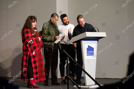British artists (L-R) Tai Shani, Helen Cammoc, Oscar Murillo, and Lawrence Abu Hamdan celebrate after being announced as the joint winners of Turner Prize 2019 at Dreamland in Margate, Kent, Britain, 03 December 2019. The Turner Prize, which is presented since 1984 to a British-born or based artist aged under 50, is in its 35th year and is considered the highest award for arts in Britain.