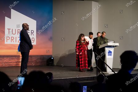 Edward Enninful, Editor-in-Chief of British Vogue (L) as British artists (2L-R) Tai Shani, Oscar Murillo, Lawrence Abu Hamdan and Helen Cammoc celebrate after being announced as the joint winners of Turner Prize 2019 at Dreamland in Margate, Kent, Britain, 03 December 2019. The Turner Prize, which is presented since 1984 to a British-born or based artist aged under 50, is in its 35th year and is considered the highest award for arts in Britain.