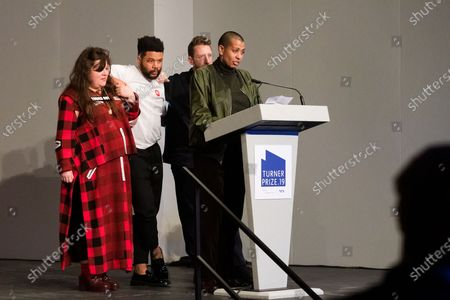 British artists (L-R) Tai Shani, Oscar Murillo, Lawrence Abu Hamdan and Helen Cammoc celebrate after being announced as the joint winners of Turner Prize 2019 at Dreamland in Margate, Kent, Britain, 03 December 2019. The Turner Prize, which is presented since 1984 to a British-born or based artist aged under 50, is in its 35th year and is considered the highest award for arts in Britain.