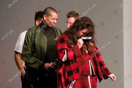 British artists Tai Shani (front) with (L-R back) Oscar Murillo, Helen Cammoc, and Lawrence Abu Hamdan celebrate after being announced as the joint winners of Turner Prize 2019 at Dreamland in Margate, Kent, Britain, 03 December 2019. The Turner Prize, which is presented since 1984 to a British-born or based artist aged under 50, is in its 35th year and is considered the highest award for arts in Britain.