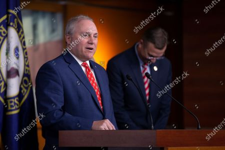 United States House Minority Whip Steve Scalise (Republican of Louisiana), along with United States House Minority Leader Kevin McCarthy (Republican of California), United States Representative Doug Collins (Republican of Georgia), and United States Representative Liz Cheney (Republican of Wyoming), speaks at a press conference on Capitol Hill