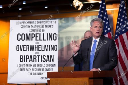 United States House Minority Leader Kevin McCarthy (Republican of California), along with United States Representative Doug Collins (Republican of Georgia), United States Representative Liz Cheney (Republican of Wyoming), and United States House Minority Whip Steve Scalise (Republican of Louisiana), speaks at a press conference on Capitol Hill