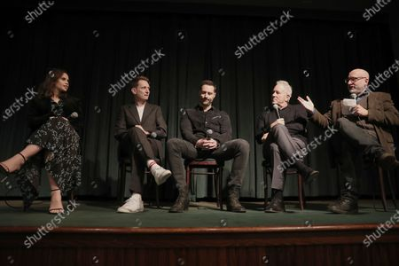 Felicity Jones, Tom Harper, Todd Lieberman, David Hoberman are interviewed on stage during the Amazon Studios The Aeronauts Tastemaker Hosted by Zac Posen at Tribeca Grill