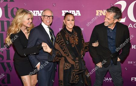 Christie Brinkley, Tommy Hilfiger, Donna Karan, Kenneth Cole. Model Christie Brinkley, from left, poses with designers Tommy Hilfiger, Donna Karan and Kenneth Cole at the 2019 Footwear News Achievement Awards at the IAC Building, in New York