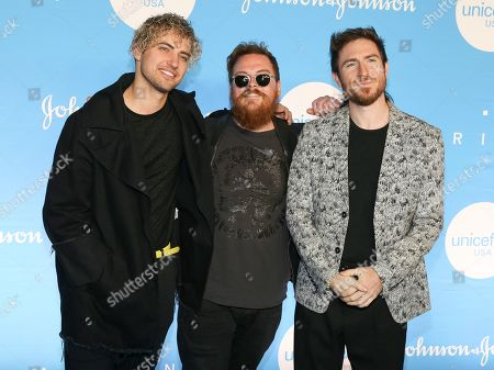 Kevin Ray, Nicholas Petricca, Sean Waugaman. Kevin Ray, from left, Nicholas Petricca and Sean Waugaman of the band Walk the Moon attend the 15th annual UNICEF Snowflake Ball at The Atrium, in New York