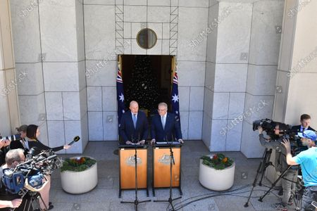 Minister for Home Affairs Peter Dutton (C, left) and Prime Minister Scott Morrison (C, right) speak during a press conference at Parliament House in Canberra, Australia, 04 December 2019. The Medevac Bill provided critically sick refugees and asylum seekers, which are being held in offshore detention centers, access to health healthcare facilities in Australia.